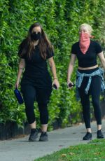 Amber Heard Takes a late afternoon hike with a friend in Griffith Park in Los Angeles