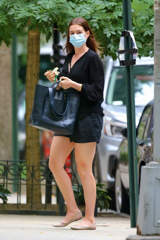 Anne Hathaway Leggy in shorts out in NY