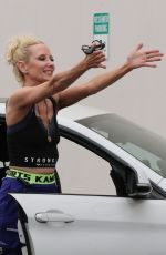 Anne Heche With her dog at the DWTS studio in Los Angeles
