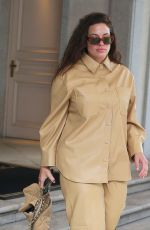 Ashley Graham Makes a fashionable exit from her hotel in Milan
