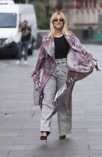 Ashley Roberts Pictured at Heart radio in stylish rain coat in London