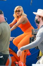 Bebe Rexha Filming an ad for JBL Headgear in LA
