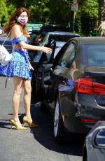 Blanca Blanco Dons her midriff while out in a blue and white outfit in Weho