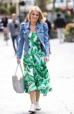 Charlotte Hawkins Pictured at Heart radio wearing Floral skater dress and denim jacket in London