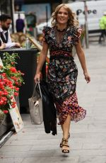 Charlotte Hawkins Wears a floral print dress at the Global Offices in London