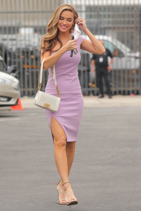 Chrishell Stause Looks pretty in pink as she arrives at the studio for a press conference in Los Angeles