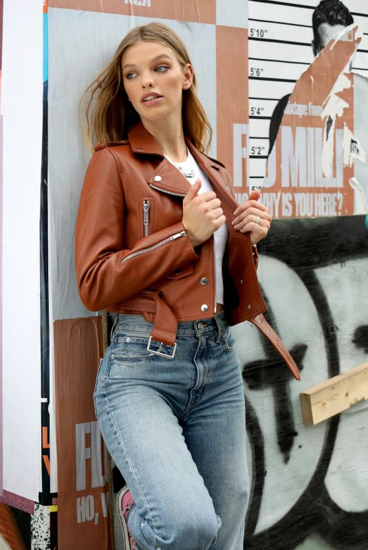 Clare Crawford On location for a Maybelline commercial in Soho