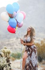 Courtney Stodden Poses with baloons and a cake as she celebrates her birthday in Palm Springs