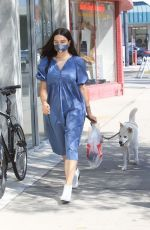 Crystal Reed Out for a Walk with Her Dog on the Streets of Los Angeles