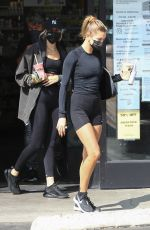 Hailey Bieber & Justine Skye Make a juice run after a workout in Los Angeles