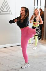 Holly Hagan Taking part in a Charlotte Thorne Fitness class at Foodwell in Manchester