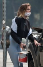 Ireland Baldwin Stops by a hardware store for paint and supplies in Studio City