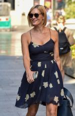 Jenni Falconer Wears a fracture walking boot at the Global Radio Studios in Central London