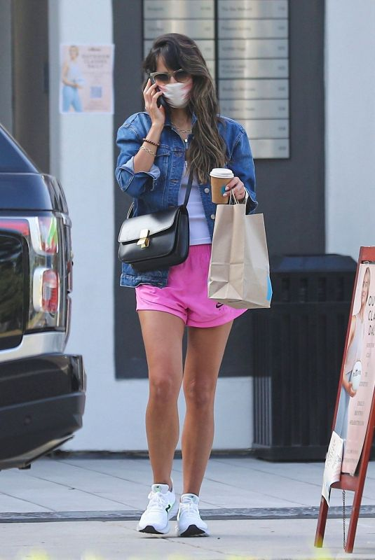 Jordana Brewster Leggy in shorts out in Brentwood