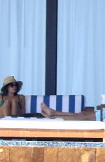 Kaia Gerber In Green Bikini by The Pool On Vacation In Los Cabos