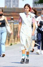 Kaia Gerber Is doing a photoshoot for Coach in The West Side Hudson Park in New York