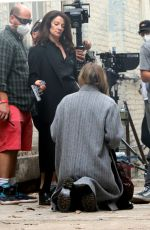 "Kaley Cuoco During scene in an alley at ""The Flight Attendant"" set this afternoon in Long Island City"