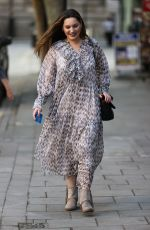 Kelly Brook In a long flowing dress at the Heart Radio Studios in London