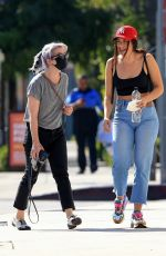 Kelly Osbourne Shares a laugh with a friend after lunch at Gracias Madre in West Hollywood