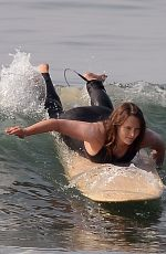Leighton Meester Shows off her impressive surfing skills in Malibu