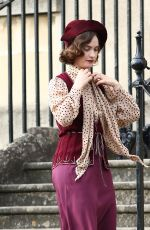 Lily James On the set of The Persuit of Love in Bath, England