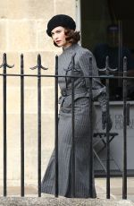 Lily James On the set of The Pursuit of Love in Bath, England