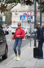 Michelle Hunziker Spotted out in the rain in Milan