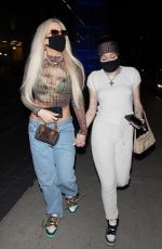 Noah Cyrus And rumored girlfriend Tana Mongeau arriving for dinner at BOA in West Hollywood