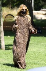 Rachel Zoe Dons animal print maxi dress as she enjoyed her afternoon with her two boys at a local Los Angeles