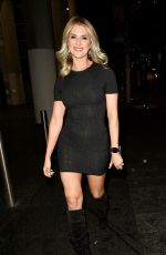 Sarah Jayne Dunn Puts on a leggy display as she is seen arriving at Scene Indian Restaurant in Manchester
