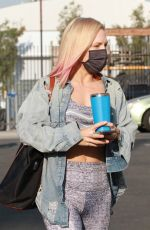 Sharna Burgess Shows off her abs and she leads to the DWTS studio in Los Angeles