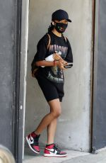 Skai Jackson Wearing a Malcolm X t-shirt and BLM mask as she leaves practice at the DWTS studio in Los Angeles