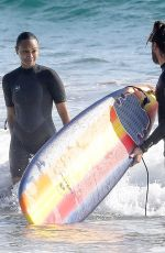 Zoe Saldana Puts on a westuit for a Sunday surf session in Malibu
