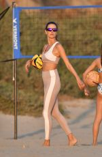 Alessandra Ambrosio Is in the zone while at volleyball practice with friends at the beach in Santa Monica