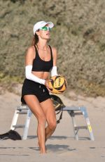 Alessandra Ambrosio Practices her beach volleyball game with friends in Santa Monica