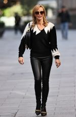Amanda Holden Looks hot in leather trousers at Heart radio in London