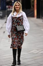 Ashley Roberts Wears printed dress and shirt as she exits Heart radio in London