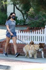 Aubrey Plaza Takes her dogs out for a morning walk