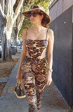 Blanca Blanco In an animal print outfit as she heads to Bossa Nova for dinner