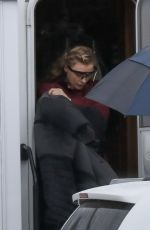 "Chloe Grace Moretz Leaving her trailer to go to the set of ""Mother/Android"" in Boston"
