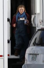 Chloë Grace Moretz With Prosthetic baby bump on set of Mother/Android in Boston