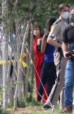 Courteney Cox Reprises her role as news reporter Gale Weathers filming scenes for