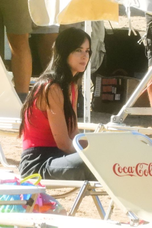 Dakota Johnson On the set of The Lost Daughter in Spetses Island, Greece