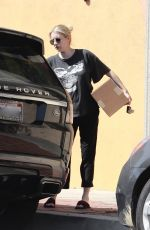 Emma Roberts Grabs food to go from Alfred Coffee in Los Feliz