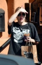 Emma Roberts Leaving Alfred Coffee in LA