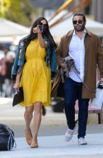 Famke Janssen Spotted out in a yellow dress when lunching with friends in downtown Manhattan