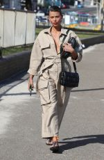 Georgia Fowler Looks chic in a beige jumpsuit while out in Bondi