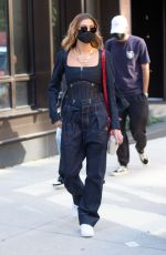 Hailey Bieber (Baldwin) Steps out in a double denim outfit as leaving her apartment in Brooklyn