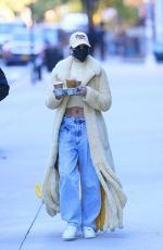 Hailey Bieber Uses the NYC streets as her catwalk on her way to grab coffee at a local coffee shop