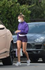 Hailey Bieber Visits a friend after her workout in Beverly Hills